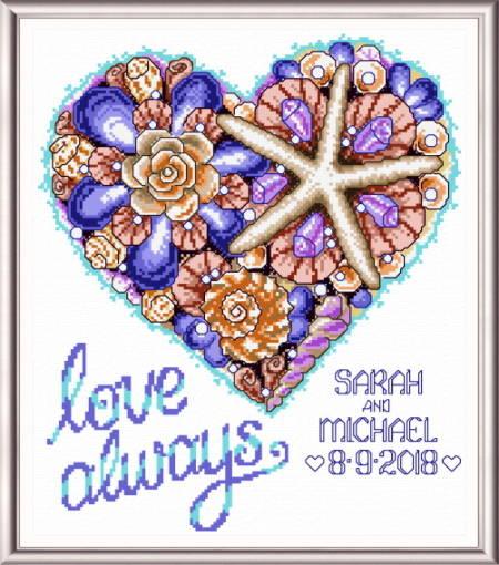 cross stitch pattern Seashell Heart Wedding