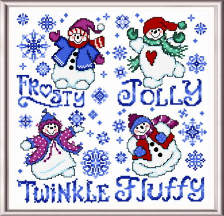 cross stitch pattern Fluffy Snowmen - square