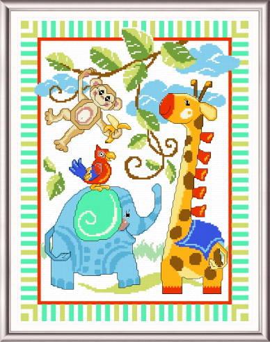 cross stitch pattern Giraffe and Friends