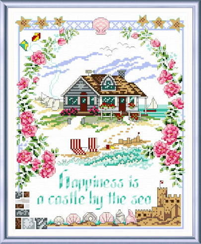 cross stitch pattern Happiness is a Castle by the Sea