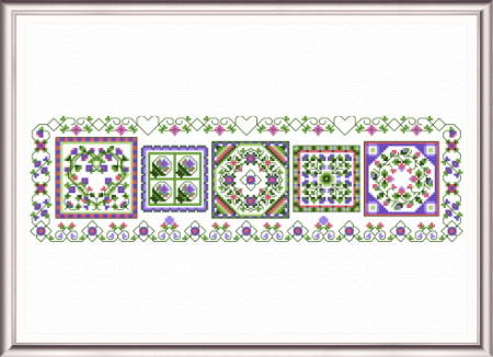 cross stitch pattern Lavender Fields Quilt Sampler