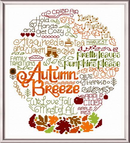 cross stitch pattern Let's Breeze into Autumn