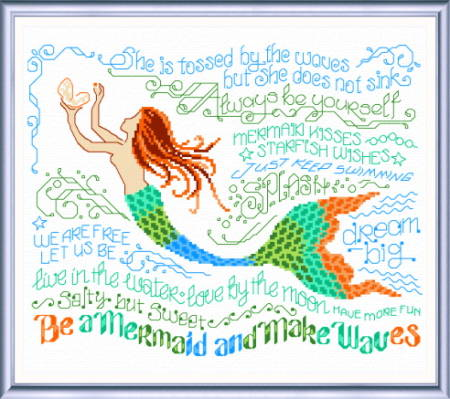 cross stitch pattern Let's be Mermaids