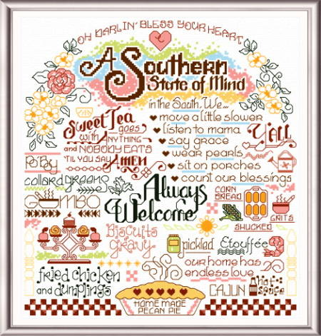 cross stitch pattern Let's Visit the South