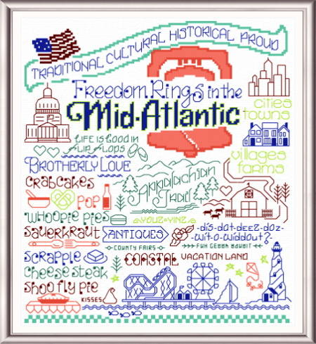 cross stitch pattern Let's Visit the Mid-Atlantic