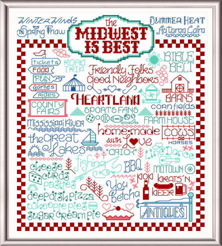 cross stitch pattern Let's Visit the Midwest
