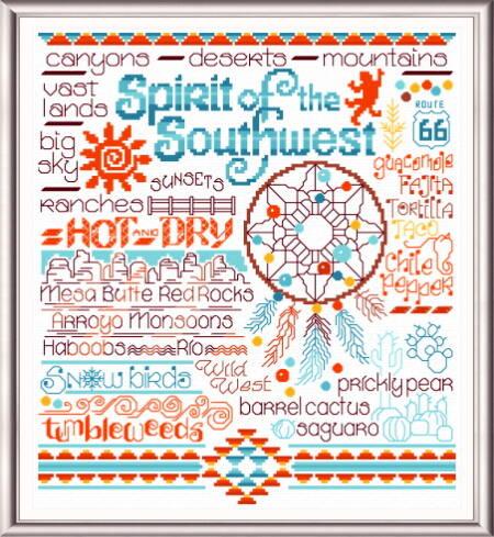 cross stitch pattern Let's Visit the Southwest