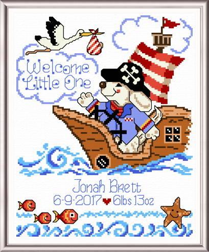 cross stitch pattern Pirate Welcome Birth Record