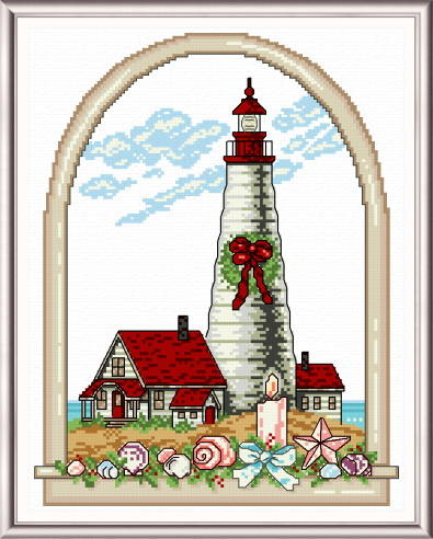 cross stitch pattern Holiday Lighthouse