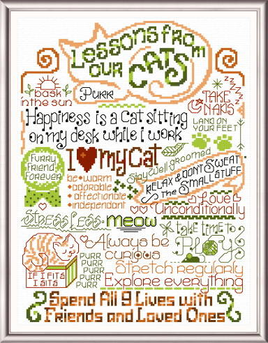 cross stitch pattern Let's Learn from our Cats