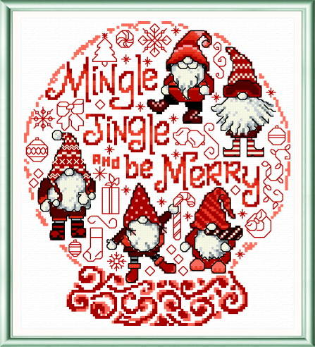 cross stitch pattern Let's Mingle and Jingle