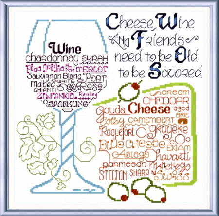 cross stitch pattern Let's Share Wine and Cheese