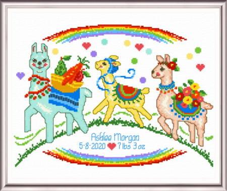 cross stitch pattern Llama Family birth record