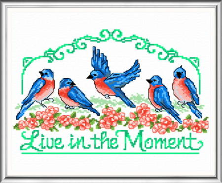 cross stitch pattern Live in the Moment - Bluebirds