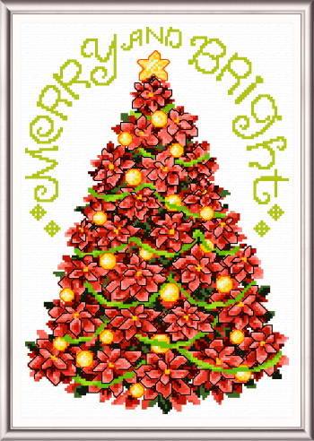 cross stitch pattern Poinsettia ChristmasTree
