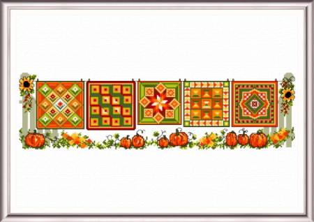 cross stitch pattern Autumn Quilts Row