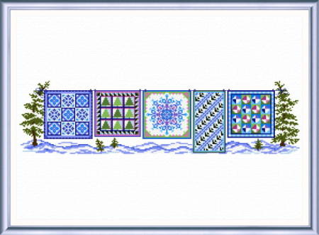 cross stitch pattern Winter Quilts Row