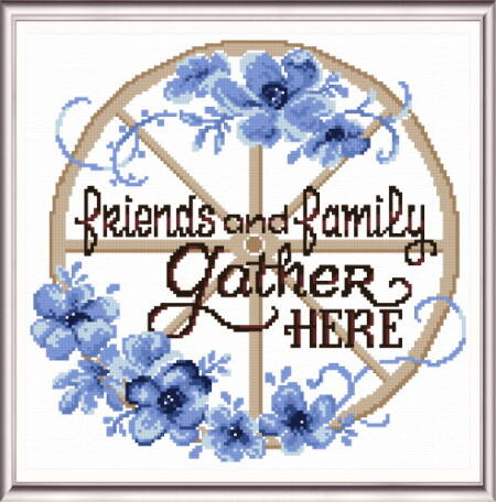 cross stitch pattern Friends and Family Gather Here