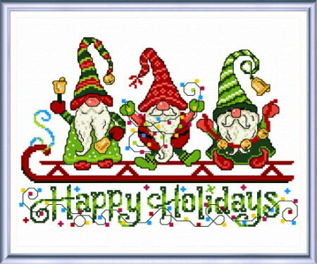 cross stitch pattern Gnome's Happy Holiday
