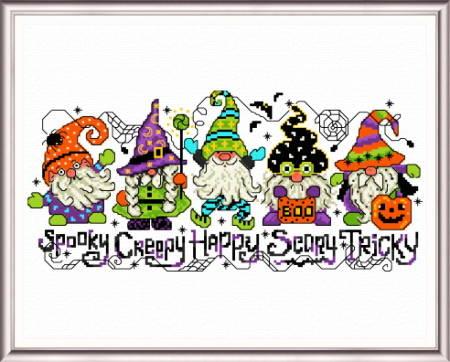 cross stitch pattern Halloween Gnomes