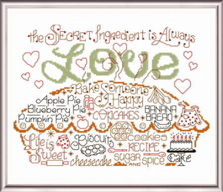 cross stitch pattern Let's Bake with Love