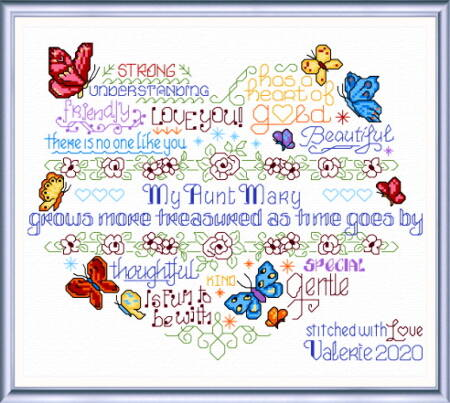 cross stitch pattern Let's Treasure an Aunt
