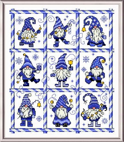 cross stitch pattern Mingle Jingle Zoom Gnomes - blue