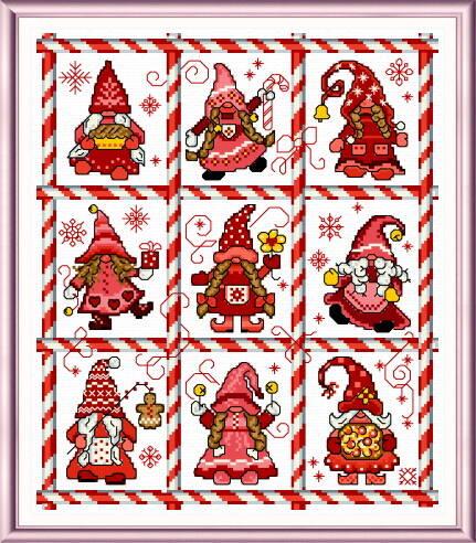 cross stitch pattern Mingle Jingle Zoom Gnomettes