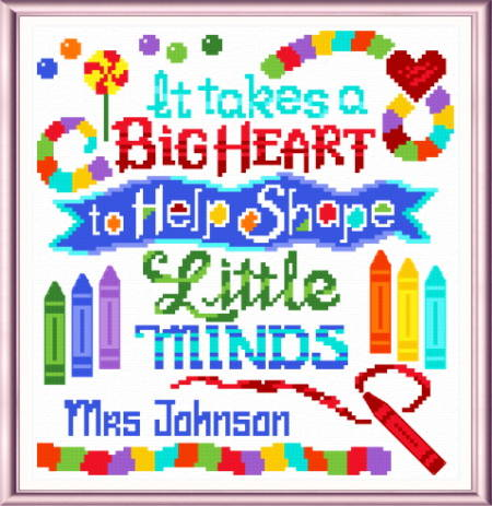 cross stitch pattern Teachers Have a Big Heart