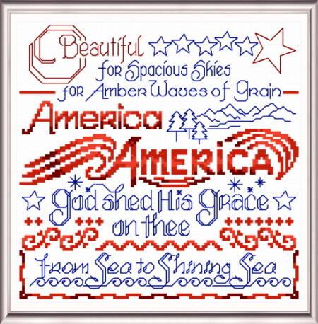cross stitch pattern America the Beautiful