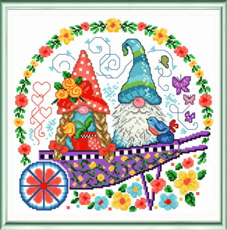 cross stitch pattern Gnomes in the Garden
