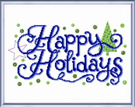 cross stitch pattern Happy Holiday Wishes