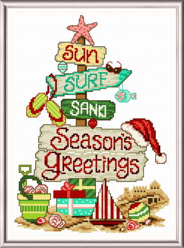 cross stitch pattern Holiday Beach Signs