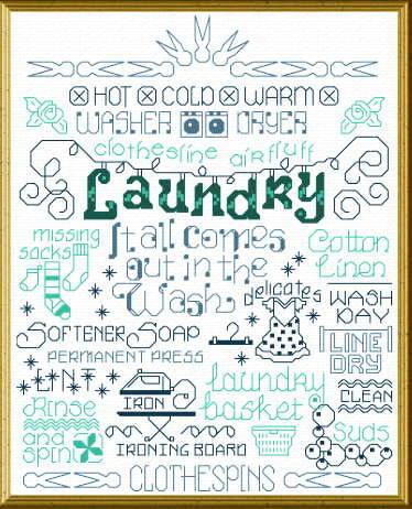 cross stitch pattern Let's Do Laundry