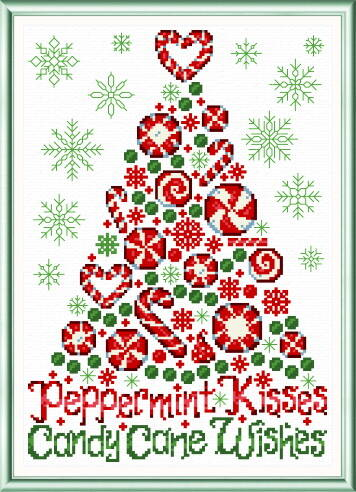 cross stitch pattern Peppermint Kisses