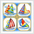 cross stitch pattern 4 Sailboats