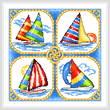 cross stitch pattern 4 Sailboats