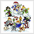 cross stitch pattern Kittens and Mittens