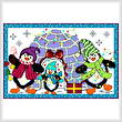 cross stitch pattern Festive Penguin Family