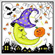 cross stitch pattern Halloween Moon