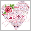 cross stitch pattern Let's Love Mom
