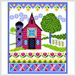cross stitch pattern Spring Barn with Quilts