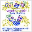 cross stitch pattern Silly Birds Birth Record
