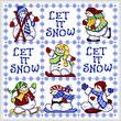 cross stitch pattern Tic Tac Snowmen