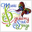 cross stitch pattern Music Wings