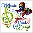 cross stitch pattern Music Wings