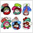 cross stitch pattern Six Snowman Mitten Ornaments