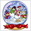 cross stitch pattern Snow Globe Family