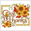cross stitch pattern Give Thanks Sunflower Spray