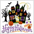 cross stitch pattern Haunted Halloween House